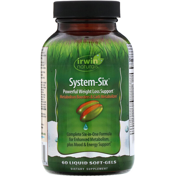 Irwin Naturals, System-Six, Powerful Weight Loss Support, 60 Liquid Soft-Gels