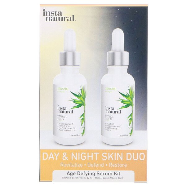 InstaNatural, Day & Night Skin Duo, Age Defying Serum Kit, 2 병, 각 1 oz (30 ml)