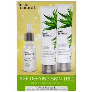 InstaNatural, Age Defying Skin Care Trio, 30-Day Starter Kit, Cleanser, Serum & Cream, 3 Pieces