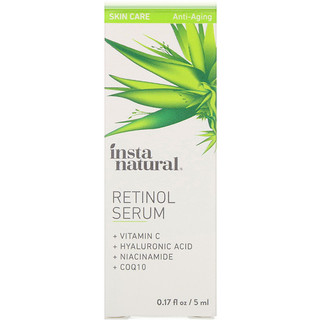 InstaNatural, Sérum de rétinol avec acide hyaluronique + vitamine C, antiâge, 5 ml (0,17 fl oz)