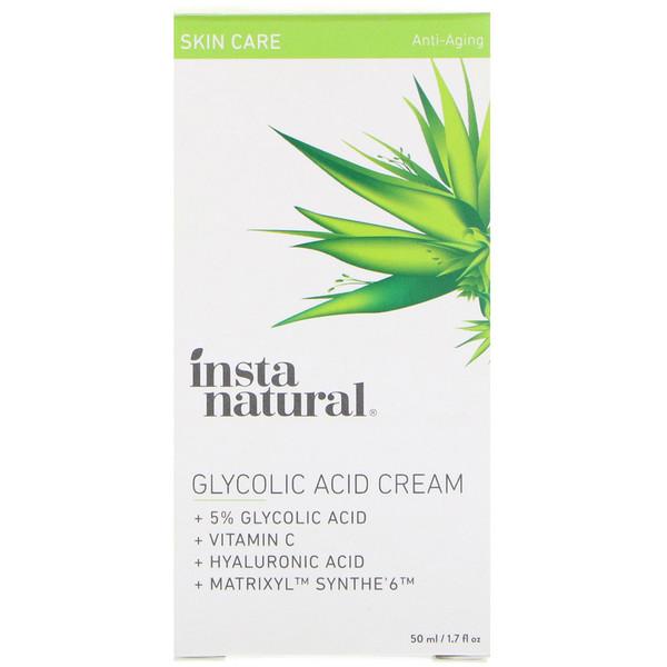 InstaNatural, 5% Glycolic Acid Cream, Anti-Aging, 1、7 fl oz (50 ml)