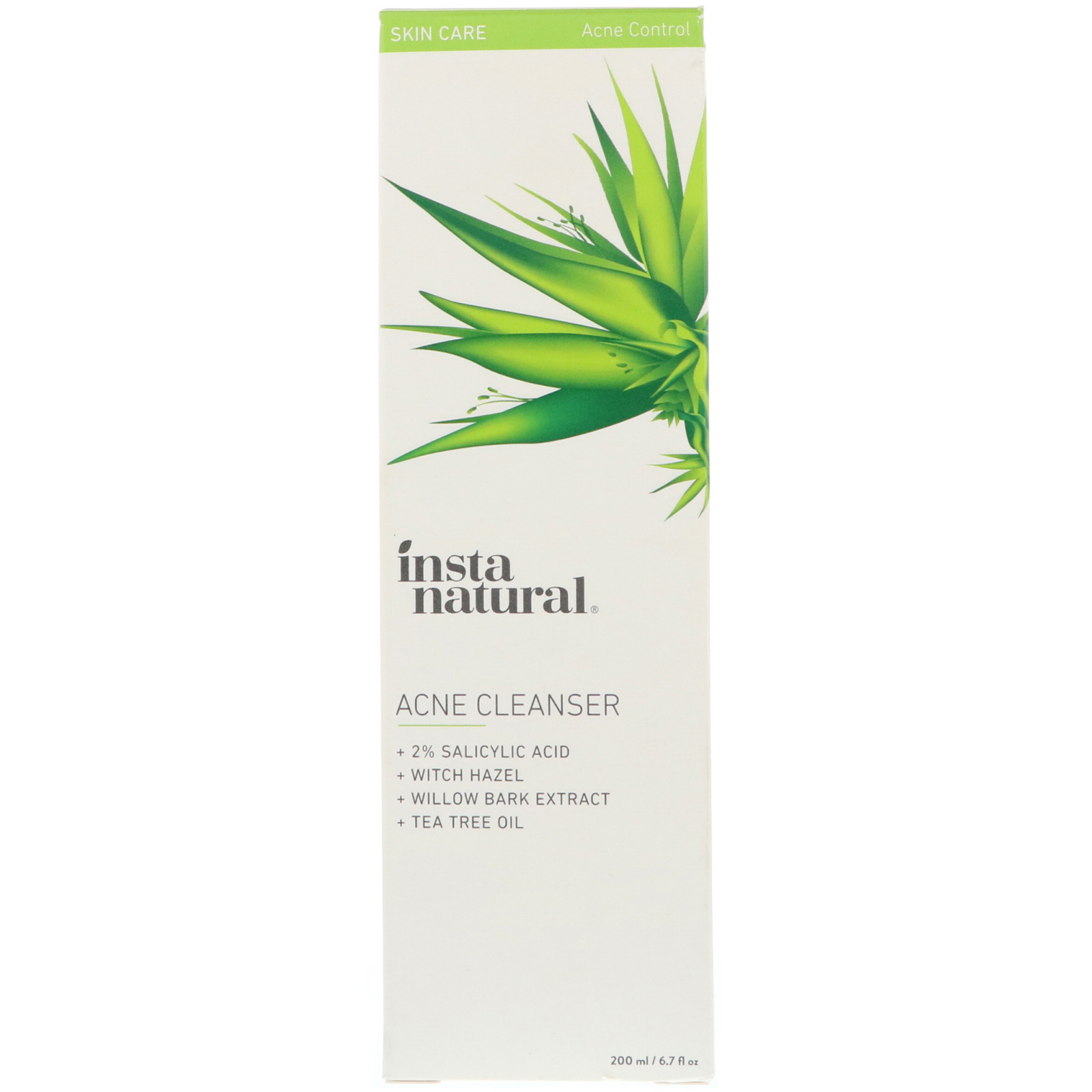 Instanatural Acne Cleanser Face Wash For Blemishes 67 Fl Acnes Tea Tree Oil Clay Mask 50g Oz
