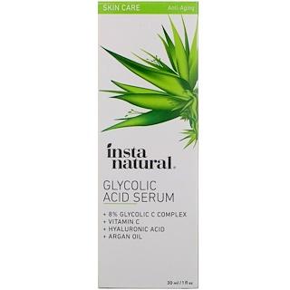 InstaNatural, Suero C 8 % ácido glicólico, Exfoliador + Antienvejecimiento, 1 fl oz (30 ml)