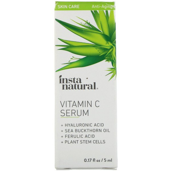 InstaNatural, Vitamin C Serum with Hyaluronic Acid + Ferulic Acid, Anti-Aging, 0.17 fl oz (5 ml)