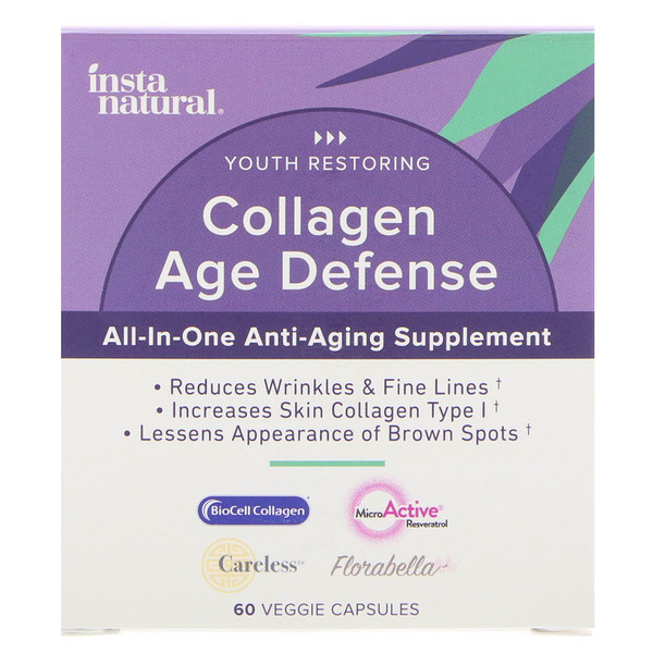 InstaNatural, Collagen Age Defense, All-In-One Anti-Aging Supplement, 60 Veggie Capsules (Discontinued Item)