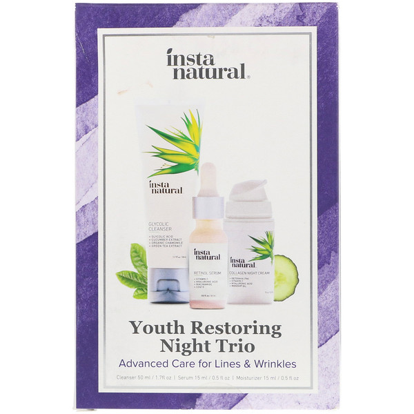InstaNatural, Youth Restoring Night Trio, Advanced Care for Lines & Wrinkles, 3 Piece Kit (Discontinued Item)