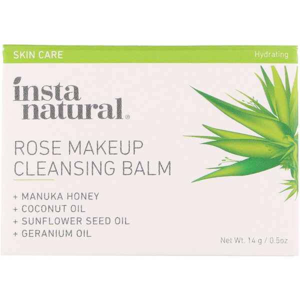 InstaNatural, Rose Makeup Cleansing Balm, Hydrating, 0.5 oz (14 g) (Discontinued Item)