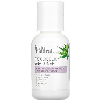 InstaNatural тонер с 7%-нойгликолевой кислотой и АГК, 30мл (1жидк.унции)