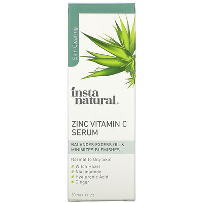 Купить InstaNatural Zinc Vitamin C Serum, 1 fl oz (30 ml)
