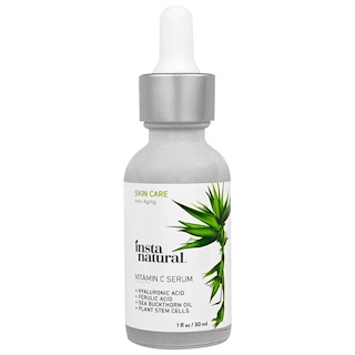 InstaNatural, Vitamin C Serum with Hyaluronic Acid + Ferulic Acid, Anti-Aging, 1 fl oz (30 ml)