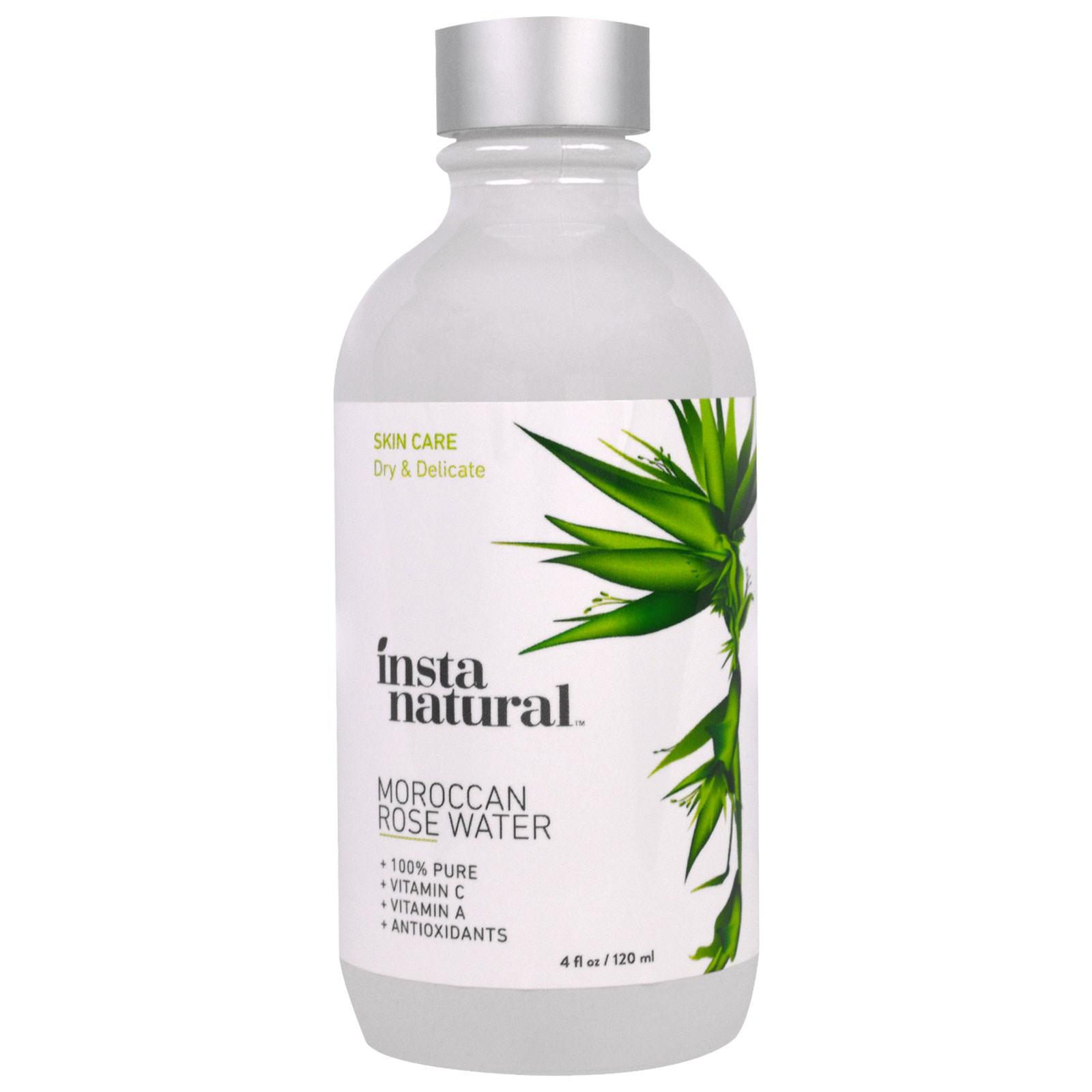InstaNatural, Тоник для лица с розовой водой, без спирта, 4 жидкие унции (120 мл)