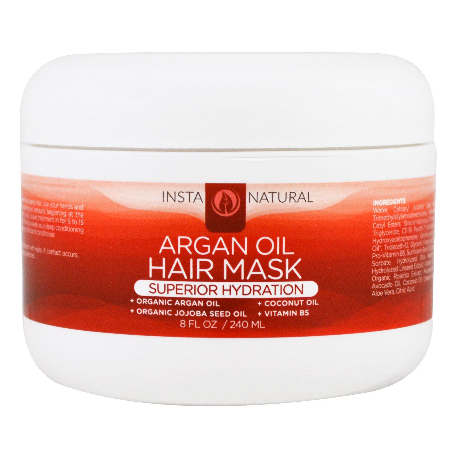InstaNatural, Маска для волос с органическим аргановым маслом, глубоко проникающий кондиционер, 240 мл