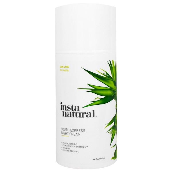 InstaNatural, Night Cream with Vitamin C and Rose Hip Oil, Anti-Aging, 3.4 fl oz (100 ml) (Discontinued Item)