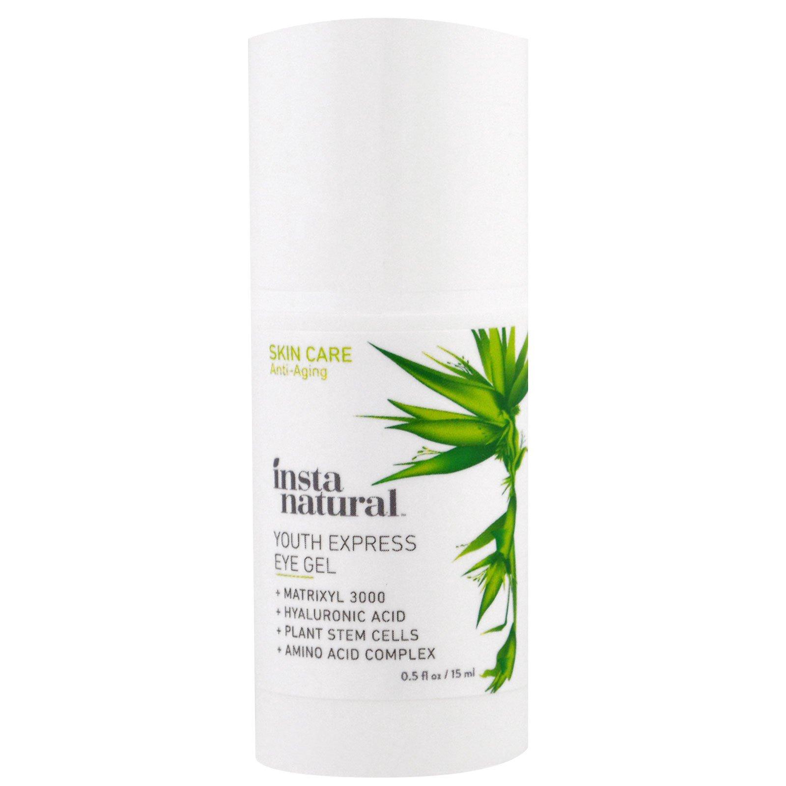 InstaNatural, Крем-гель для глаз с гиалуроновой кислоты + растительные стволовые клетки, 0,5 мл (15 мл)