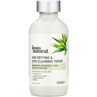 InstaNatural, 逆龄和洁面爽肤水,含维生素C和水杨酸,4液量盎司(120毫升)