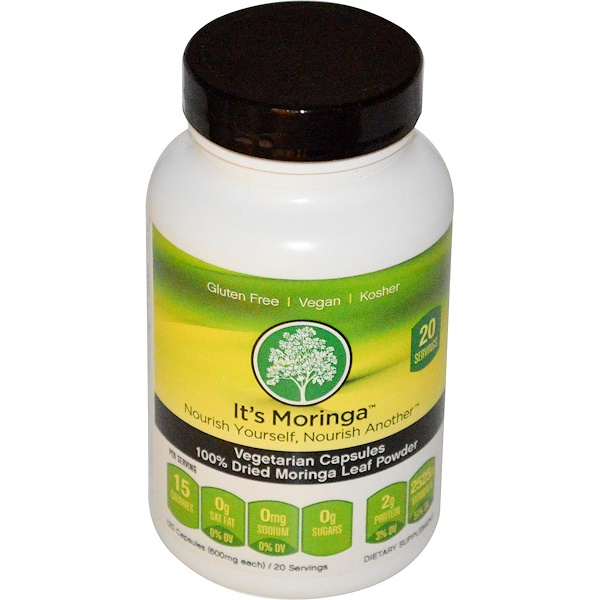 It's Moringa, 100% Dried Moringa Leaf Powder, 600 mg, 120 Veggie Caps (Discontinued Item)