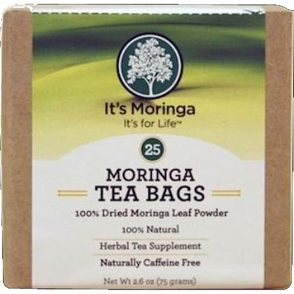 It's Moringa, Moringa Tea Bags, Caffeine Free, 25 Tea Bags, 2.6 oz (75 g) (Discontinued Item)