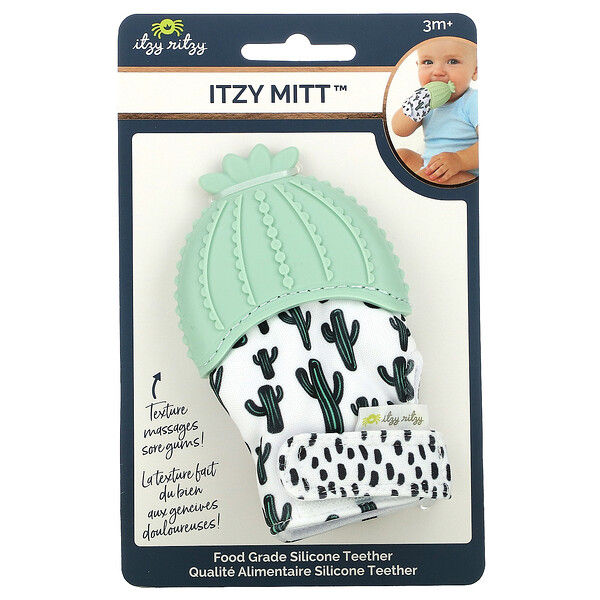 Itzy Mitt, Food Grade Silicone Teether, 3+ Months, Cactus, 1 Teether