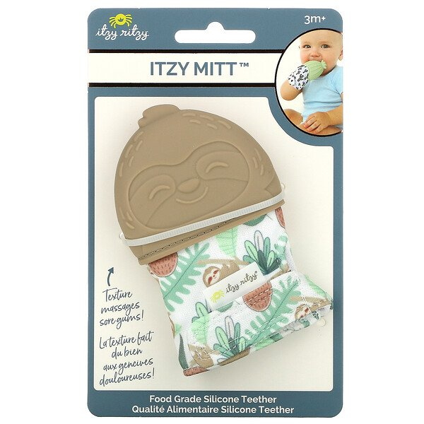 Itzy Mitt, Food Grade Silicone Teether, 3+ Months, Sloth, 1 Teether