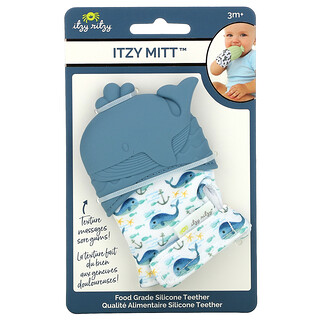 Itzy Ritzy, Itzy Mitt, Food Grade Silicone Teether, 3+ Months, Whale, 1 Teether