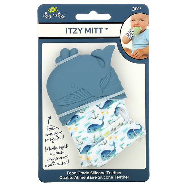 Itzy Mitt, Food Grade Silicone Teether, 3+ Months, Whale, 1 Teether