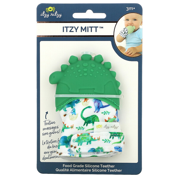 Itzy Mitt, Food Grade Silicone Teether, 3+ Months, Dino, 1 Teether