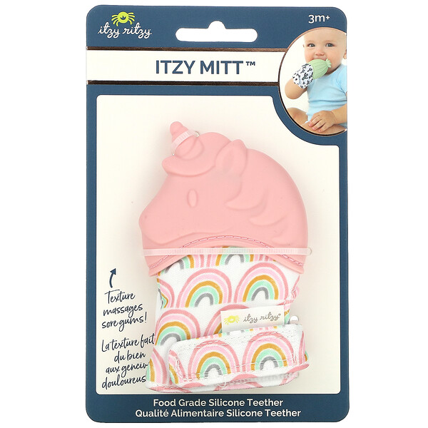 Itzy Mitt, Food Grade Silicone Teether, 3+ Months, Light Pink Unicorn, 1 Teether
