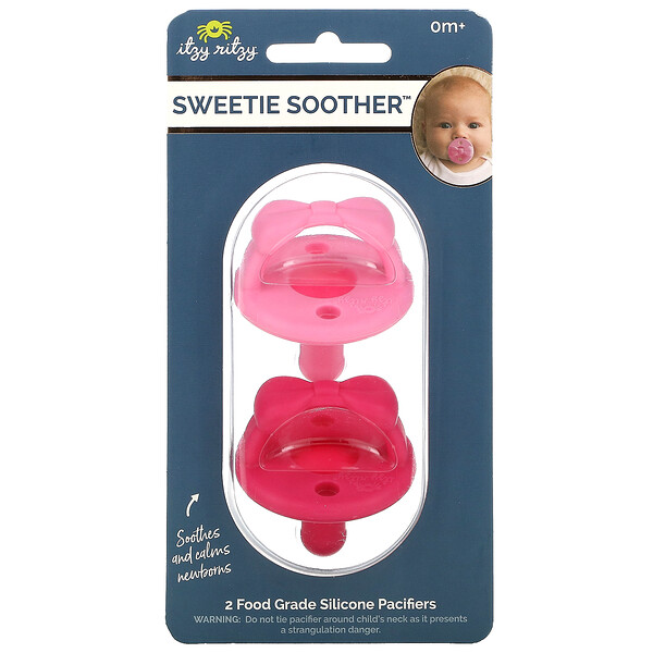 Sweetie Soother, Food Grade Silicone Pacifiers, 0+ Months, Cotton Candy Watermelon Bow, 2 Pacifiers