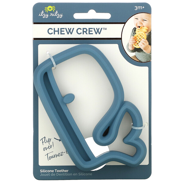 Chew Crew, Silicone Teether, 3+ Months, Whale, 1 Teether