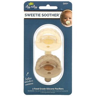 Itzy Ritzy, Sweetie Soother, 0+ Months, Cream Taupe Braid, 2 Food Grade Silicone Pacifiers