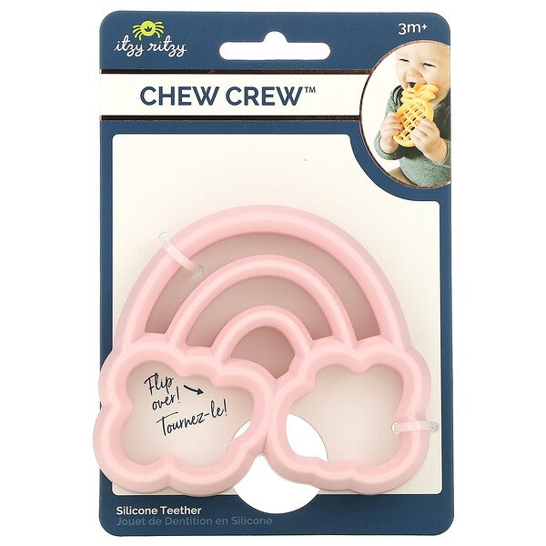 Chew Crew, Silicone Teether, 3+ Months, Rainbow, 1 Teether