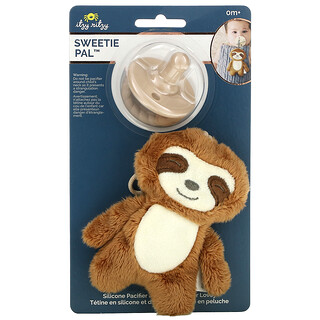 Itzy Ritzy, Sweetie Pal, Silicone Pacifier and Plush Pacifier Lovey, 0+ Months, Sloth, 2 Piece Set