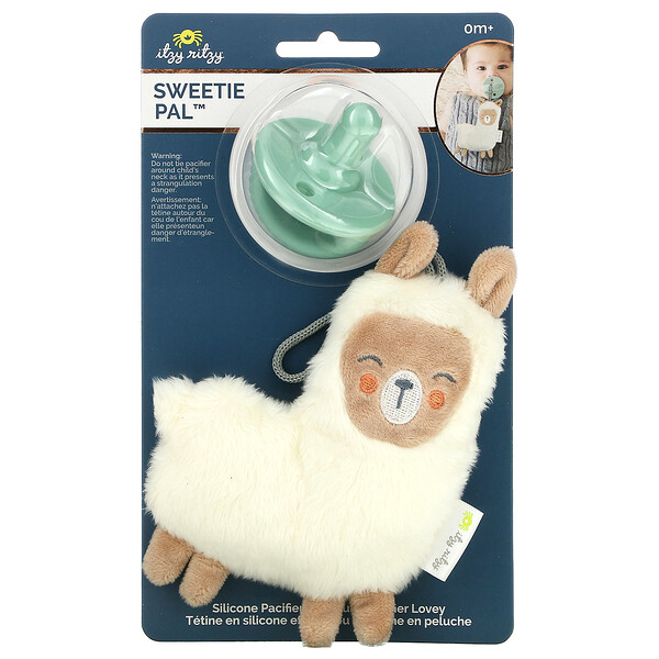Sweetie Pal, Silicone Pacifier and Plush Pacifier Lovey, 0+ Months, Lama, 2 Piece Set