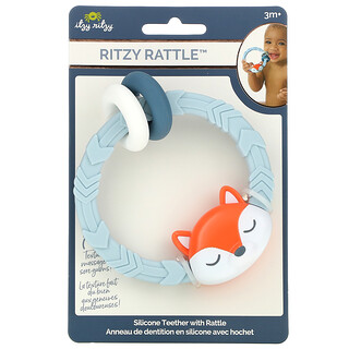 Itzy Ritzy, Ritzy Rattle, Silicone Teether with Rattle, 3+ Months, Fox, 1 Teether