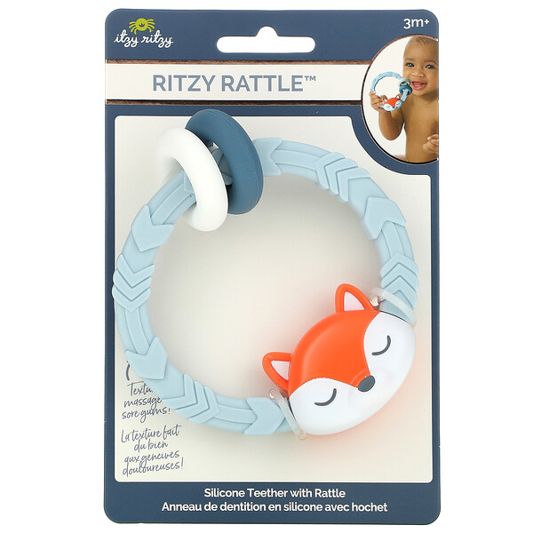 Ritzy Rattle, Silicone Teether with Rattle, 3+ Months, Fox, 1 Teether