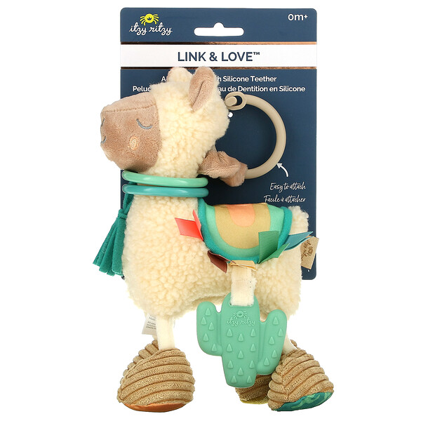 Link & Love, Activity Plush with Silicone Teether, 0+ Months, Lama, 1 Piece