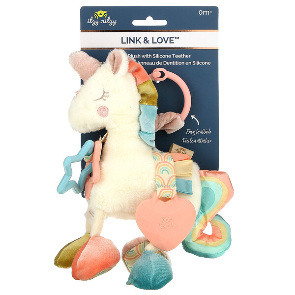 Link & Love, Activity Plush with Silicone Teether, 0+ Months, Unicorn, 1 Plush Teether