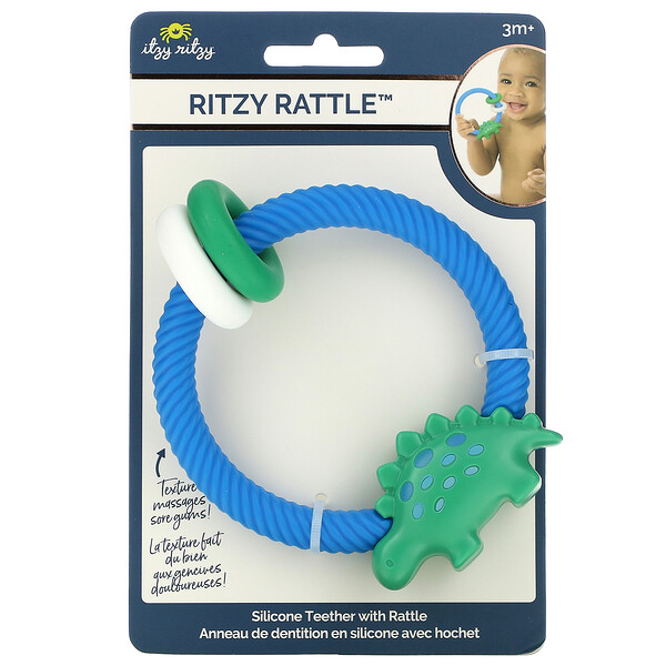 Ritzy Rattle, Silicone Teether with Rattle, 3+ Months, Dino, 1 Teether