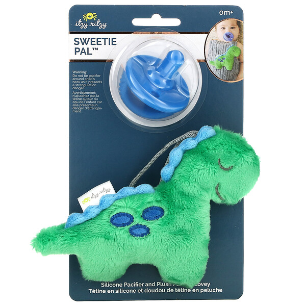 Sweetie Pal, Silicone Pacifier and Plush Pacifier Lovey, 0+ Months, Dino, 2 Piece Set