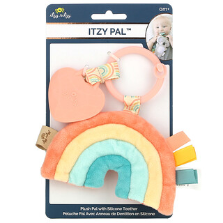 Itzy Ritzy, Itzy Pal, Plush Pal with Silicone Teether,  0+ Months, Macy The Rainbow, 1 Teether