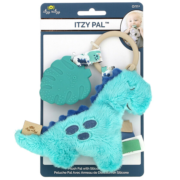 Itzy Pal, Plush Pal with Silicone Teether, 0+ Months, James The Dinosaur, 1 Teether