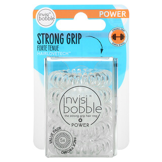 Invisibobble, Power, Strong Grip Hair Ring, Crystal Clear, 5 Pack