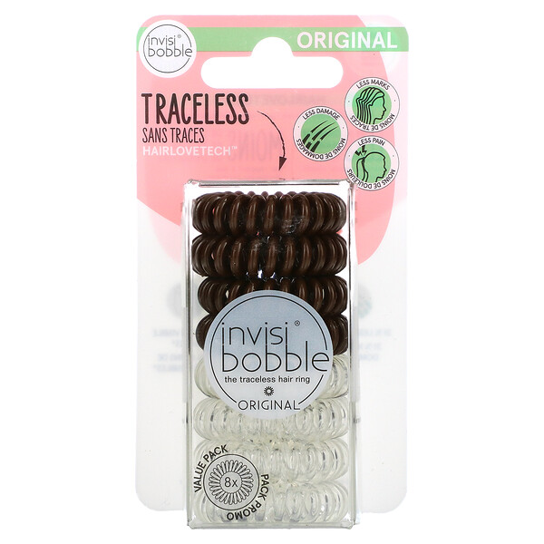 Original, Traceless Hair Ring, Crystal Clear/ Pretzel Brown, 8 Pack