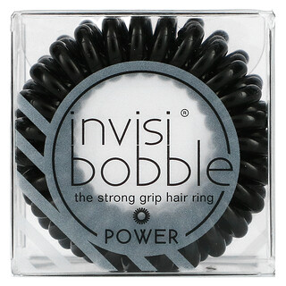 Invisibobble, Power, Strong Grip Hair Ring, True Black, 3 Pack