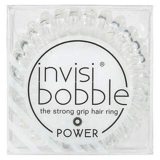 Invisibobble, Power, Strong Grip Hair Ring, Crystal Clear, 3 Pack