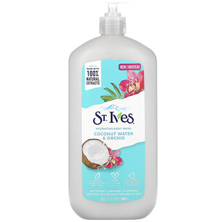 St. Ives, جل استحمام مرطب، بخلاصة ماء جوز الهند وزهرة الأوركيد، بسعة 32 أونصة سائلة (946 مل)