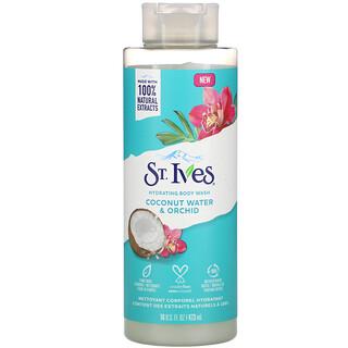 St. Ives, جل استحمام مرطب، بماء جوز الهند والسحلبية، 16 أونصة سائلة (473 مل)