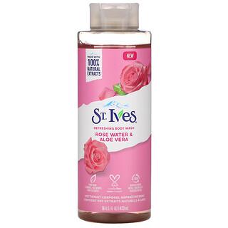 St. Ives, جل استحمام منعش، ماء الورد والصبار، 16 أونصة سائلة (473 مل)