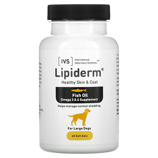 International Veterinary Sciences, Lipiderm, Healthy Skin & Coat, For Large Dogs, 60 Soft Gels