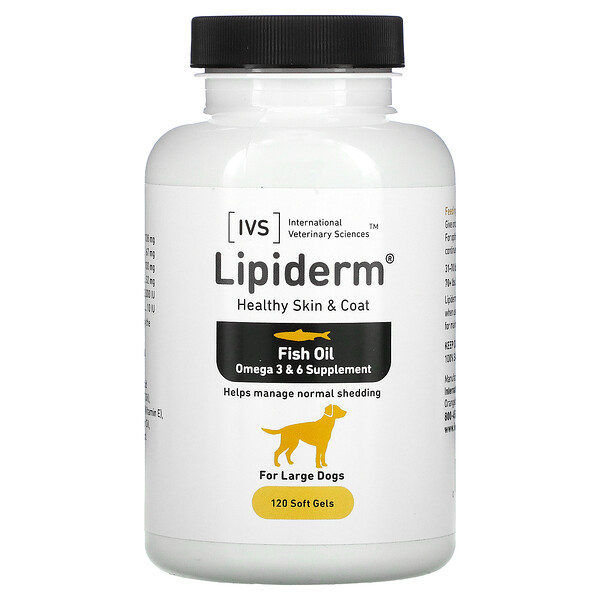 International Veterinary Sciences, Lipiderm, Healthy Skin & Coat, For Large Dogs, 120 Soft Gels